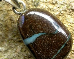 BOULDER OPAL  WITH SILVER BAIL AND STRAP 14.35 CTS [SJ135]
