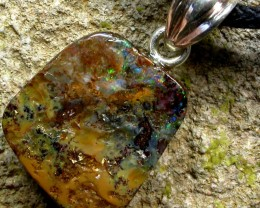 BOULDER OPAL  WITH SILVER BAIL AND STRAP 15.25 CTS [SJ113]
