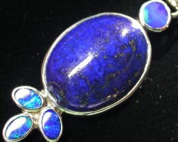 34.45 CTS LAPIS WITH OPAL  DOUBLET SILVER PENDANT [SJ2163]