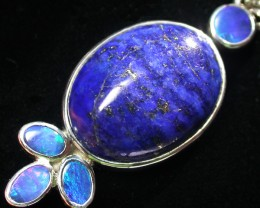 33.40 CTS LAPIS WITH OPAL  DOUBLET SILVER PENDANT [SJ2164]