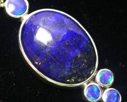 33.00 CTS LAPIS WITH OPAL  DOUBLET SILVER PENDANT [SJ2166]