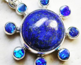 30.50 CTS LAPIS WITH OPAL  DOUBLET SILVER PENDANT [SJ2338]