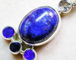 23 CTS LAPIS WITH TOPAZ OPAL DOUBLET SILVER PENDANT [SJ2358]