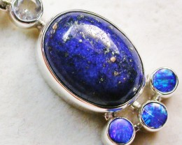 22 CTS LAPIS WITH TOPAZ OPAL DOUBLET SILVER PENDANT [SJ2359]