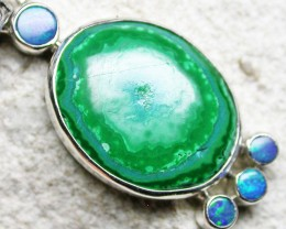 22.15 CTS MALACHITE PENDANT WITH OPALS-FACTORY DIRECT SJ2599