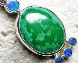 19.60 CTS MALACHITE PENDANT WITH OPALS-FACTORY DIRECT SJ2602