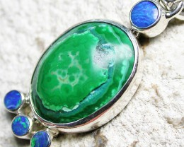 19.86 CTS MALACHITE PENDANT WITH OPALS-FACTORY DIRECT SJ2603