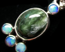11.91 CTS SERAPHNITE PENDANT WITH SOLID OPALS SILVER SJ2744