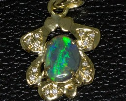 Solid Australian Opal & 12 diamonds set in Gold Pendant