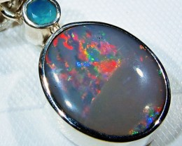 OPAL FOSSIL SILVER PENDANT -FACTROY DIRECT [SJ3083]