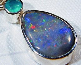OPAL FOSSIL SILVER PENDANT -FACTROY DIRECT [SJ3085]