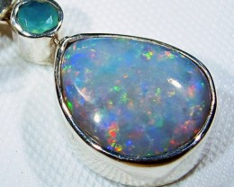 OPAL FOSSIL SILVER PENDANT -FACTROY DIRECT [SJ3091]