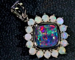 Our Classic Gem Triplet with solid crystal opals Silver Pendant SB125
