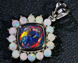 Our Classic Gem Triplet with solid crystal opals Silver Pendant SB126