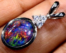 TRIPLET OPAL SILVER PENDANT 4.10 CTS OF-1471