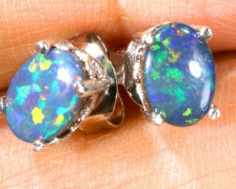 6 CTS DOUBLET OPAL SILVER EARRINGS OF-1497