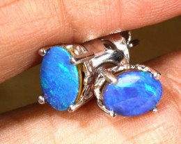 6 CTS DOUBLET OPAL SILVER EARRINGS OF-1500