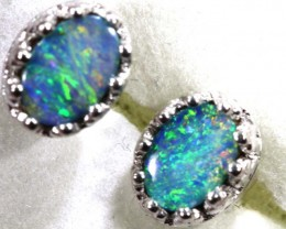 8.15 CTS DOUBLET OPAL SILVER EARRINGS OF-1501