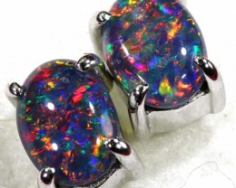 7.95 CTS TRIPBLET OPAL SILVER EARRINGS OF-1504
