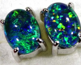7.95 CTS TRIPLET OPAL SILVER EARRINGS OF-1506
