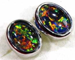 7.65 CTS TRIPLET OPAL SILVER EARRINGS OF-1507