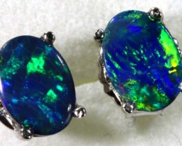 6.20 CTS DOUBLET OPAL SILVER EARRINGS OF-1508