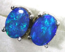 6.15 CTS DOUBLET OPAL SILVER EARRINGS OF-1512