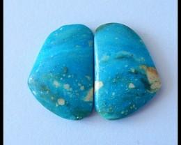 24cTS Natural Peruvian Blue Opal Cabochon Pair