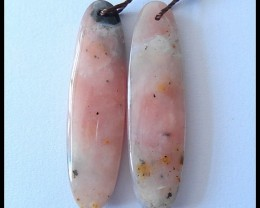 27CTS Pink Opal Earring Beads Pair