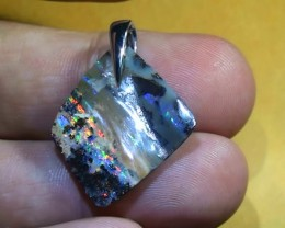 16.90  ct Gem Rainbow Color Solid Boulder Opal Pendant