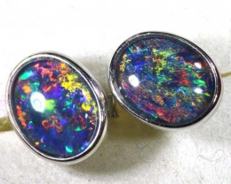 9.25 CTS TRIPLET OPAL SILVER EARRINGS  OF-1523