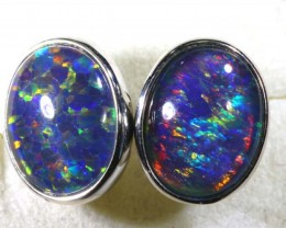 9 CTS TRIPLET OPAL SILVER EARRINGS  OF-1524