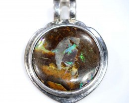 BOULDER OPAL PENDANT WITH SILVER BALE 62.65  CTS OF-1534