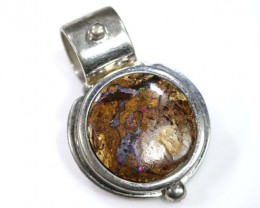 BOULDER OPAL PENDANT WITH SILVER BALE 42.50 CTS OF-1539