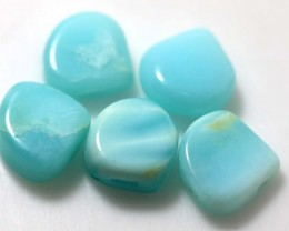 9.80 CTS PERUVIAN BLUE OPAL BEADS DRILLED PARCEL (5PCS)  LO-3916