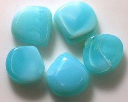 16.15 CTS PERUVIAN BLUE OPAL BEADS DRILLED PARCEL (5PCS)  LO-3919