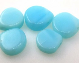 15.30 CTS PERUVIAN BLUE OPAL BEADS DRILLED PARCEL (5PCS)  LO-3925