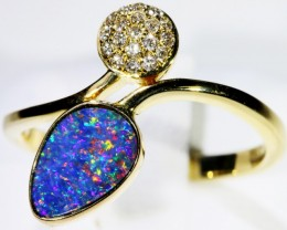 Gem Opal Doublet Ring in 14K Gold SB 262