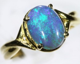 Gem Solid Black Opal Ring in 18K Gold SB 267