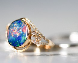 Gem Opal Doublet Ring in 14K Gold SB 282