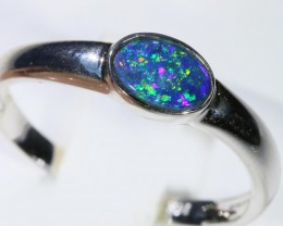 Gem Opal Doublet Ring in 14K  White Gold SB 285
