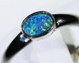 14K Gem Opal Doublet Ring in 14K  White Gold SB 286