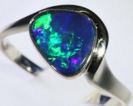 Gem Opal Doublet Ring in 14K  White Gold SB 288