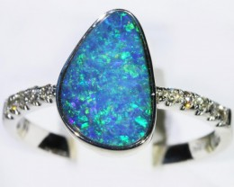 Gem Opal Doublet Ring in 14K White Gold SB 289