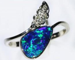 Gem Opal Doublet Ring in 14K White Gold SB 290