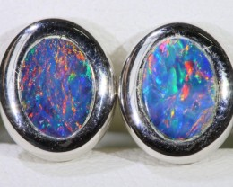 Gem Opal Doublet Earring in 14K  White Gold SB 273