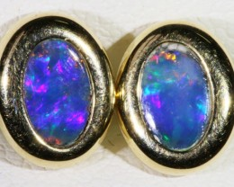 Gem Opal Doublet Earring in 14K Gold SB 275