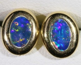 Gem Opal Doublet Earring in 14K Gold SB 277