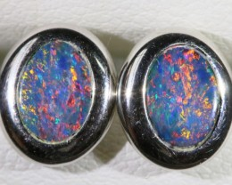 Gem Opal Doublet Earring in 14K  White Gold SB 278