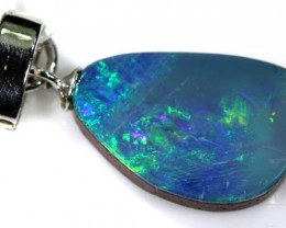 6.95  CTS  DOUBLET OPAL SILVER PENDENT  OF-1541